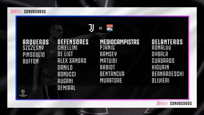 Juan Guillermo Cuadrado, convocatoria, Juventus vs. Olympique de Lyon, Champions League 2019-20