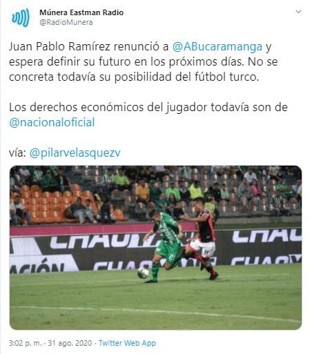 Juan Pablo Ramírez, ex Atlético Nacional, Atlético Bucaramanga, Múnera Eastman Radio