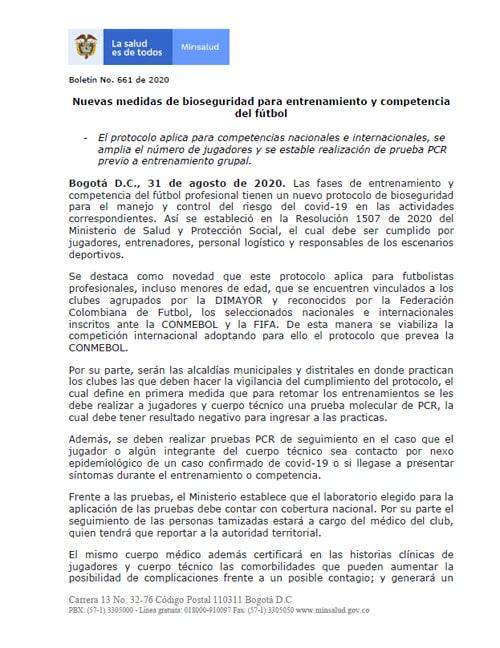 Liga 2020-I, FPC (Fútbol Profesional Colombiano), Dimayor, Ministerio de Salud y Protección Social (1)