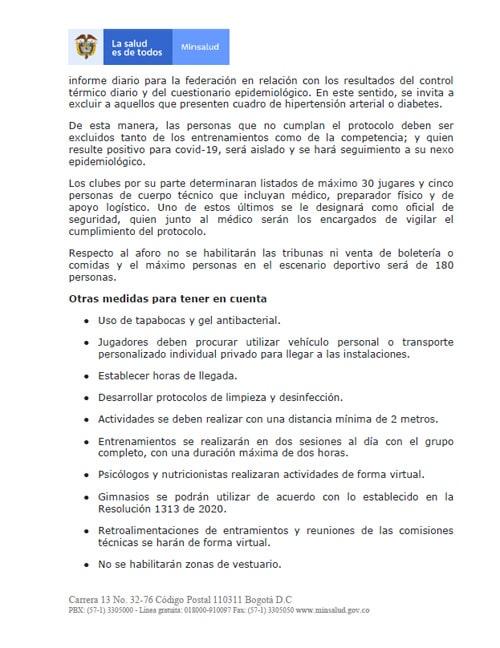 Liga 2020-I, FPC (Fútbol Profesional Colombiano), Dimayor, Ministerio de Salud y Protección Social (2)