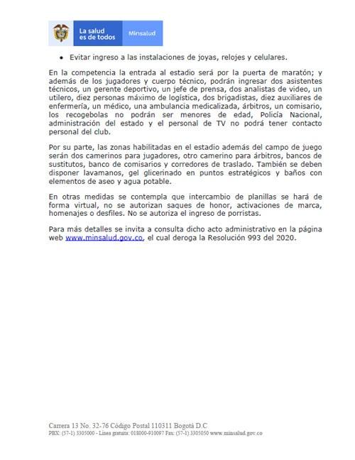 Liga 2020-I, FPC (Fútbol Profesional Colombiano), Dimayor, Ministerio de Salud y Protección Social (3)
