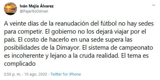 Liga 2020-I, Torneo 2020-I, Iván Mejía Álvarez