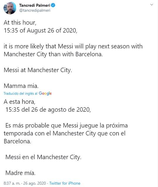 Lionel Messi, FC Barcelona, Manchester City, Tancredi Palmeri