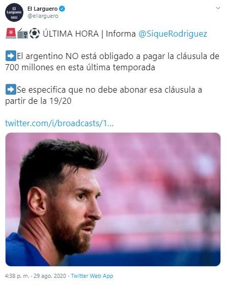 Lionel Messi, FC Barcelona, cláusula (1)
