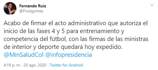 Ministerio de Salud y Protección Social, FPC, Fútbol Profesional Colombiano, Minsalud, Fernando Ruiz