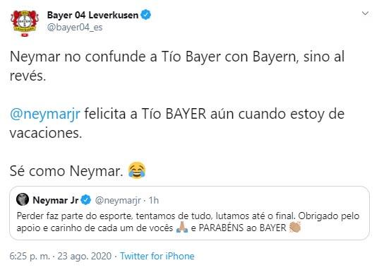 Neymar, Bayer Leverkusen, Bayern Múnich, París Saint-Germain, Champions League 2019-20, burlas