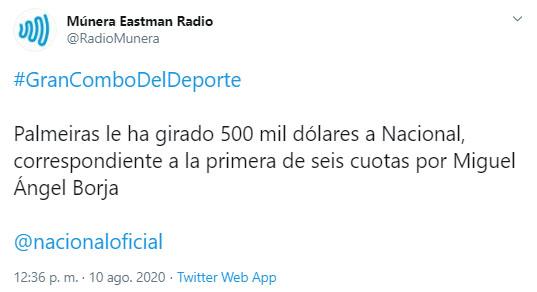 Palmeiras, Atlético Nacional, Miguel Ángel Borja, Múnera Eastman Radio
