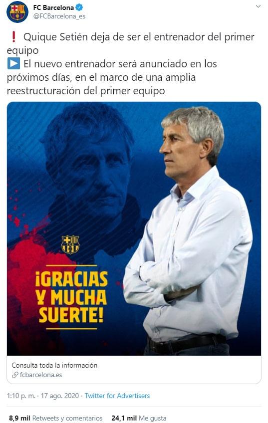 Quique Setién, FC Barcelona, despedida