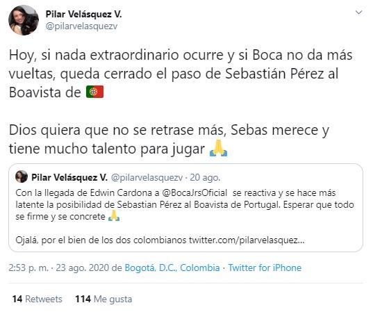 Sebastián Pérez, Boca Juniors, Boavista FC, Pilar Velásquez