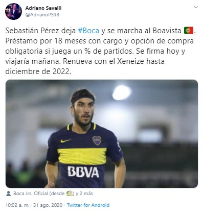 Sebastián Pérez, préstamo, Boca Juniors, Boavista FC