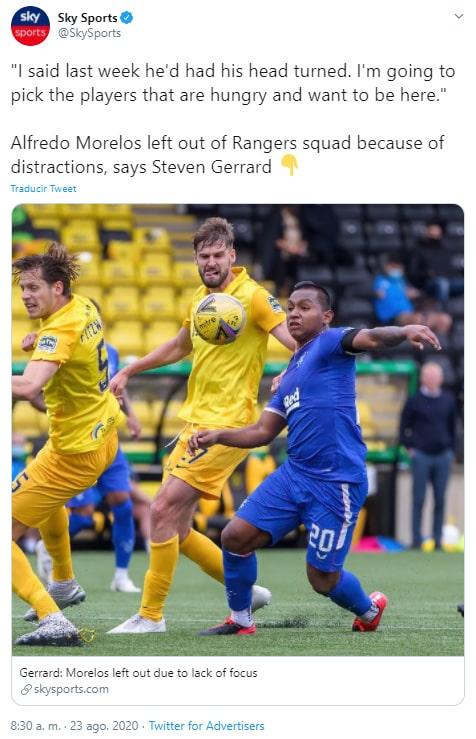 Steven Gerrard, decepción, Alfredo Morelos