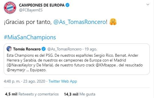 Tomás Roncero, Bayern Múnich, París Saint-Germain, Champions League 2019-20, burla