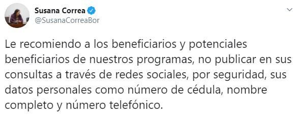 susana correa prosperidad social mensaje twitter beneficiarios y potenciales del Ingreso Solidario