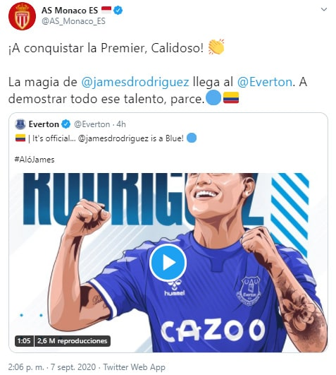 AS Mónaco, James Rodríguez, Everton FC