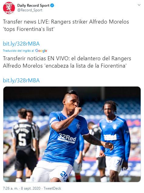 Alfredo Morelos, Rangers FC, ACF Fiorentina, Daily Record Sport