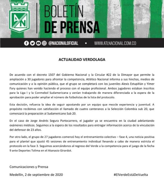 Atlético Nacional, boletín de prensa, Jorge Segura