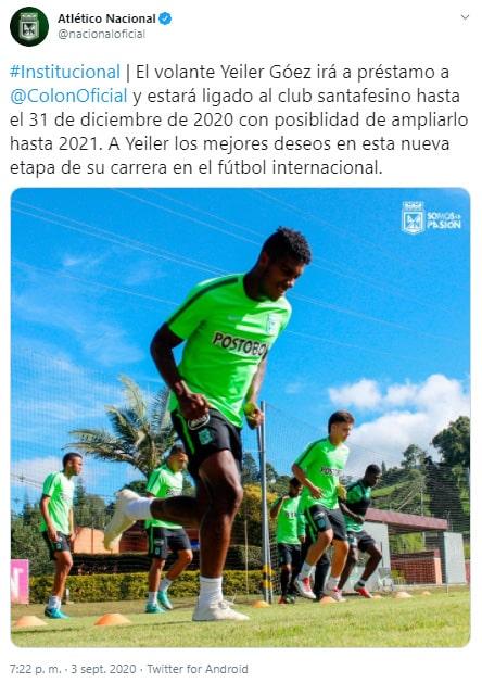 Atlético Nacional, préstamo, Yéiler Góez, Club Atlético Colón
