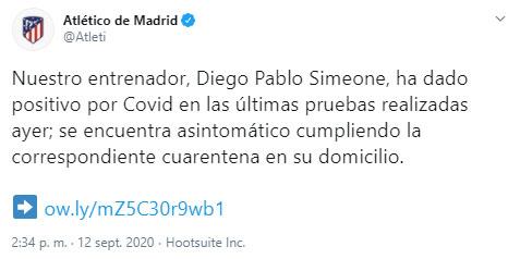 Atlético de Madrid, Diego Simeone, COVID-19, LaLiga 2020-21