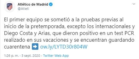 Atlético de Madrid, Santiago Arias, COVID-19