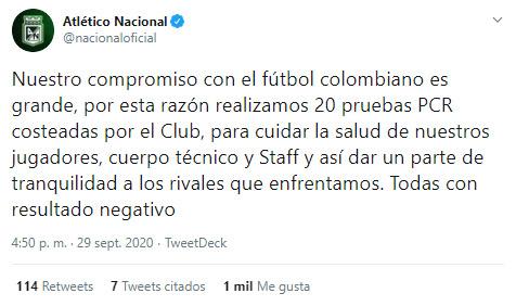 Atlético Nacional, COVID-19, Deportes Tolima, Liga 2020-I