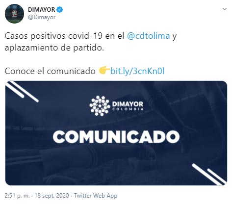 Atlético Nacional, Deportes Tolima, Liga 2020-I, COVID-19, Dimayor