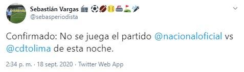 Atlético Nacional, Deportes Tolima, Liga 2020-I, COVID-19, Sebastián Vargas