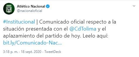 Atlético Nacional, comunicado oficial, Deportes Tolima, Liga 2020-I, COVID-19, Dimayor