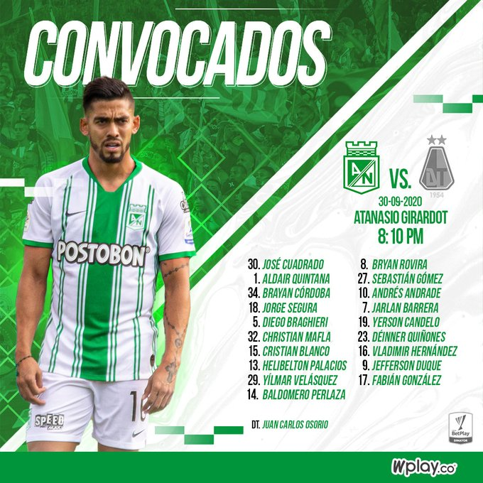 Atlético Nacional, convocados, Deportes Tolima, Liga 2020-I