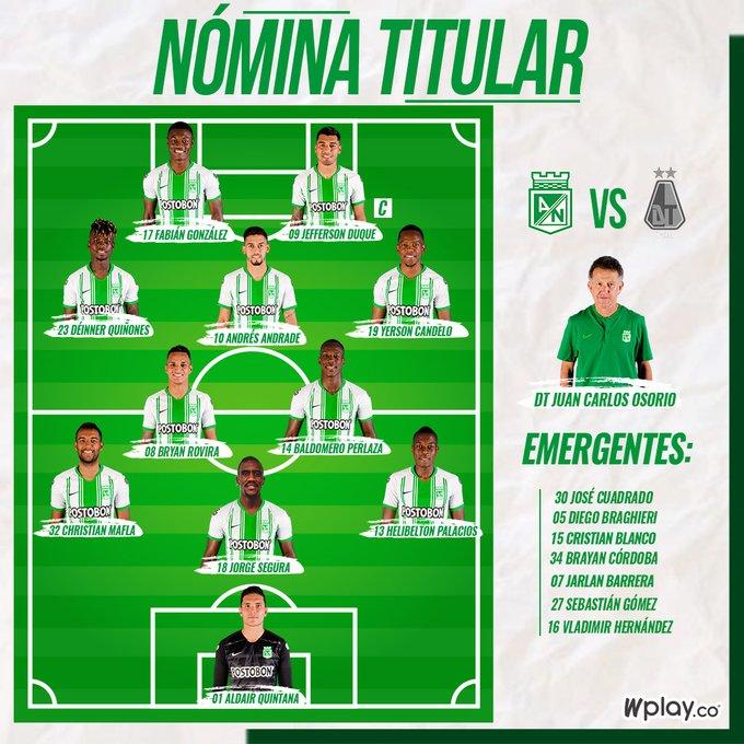 Atlético Nacional, titulares, Deportes Tolima, Liga 2020-I