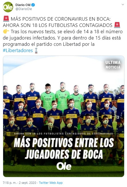 Boca Juniors, COVID-19, último reporte, Olé