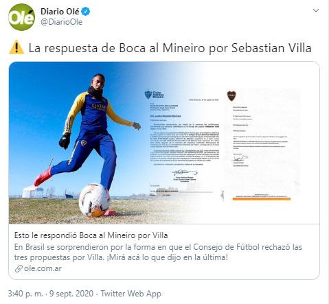Boca Juniors, Sebastián Villa, Atlético Mineiro, Olé