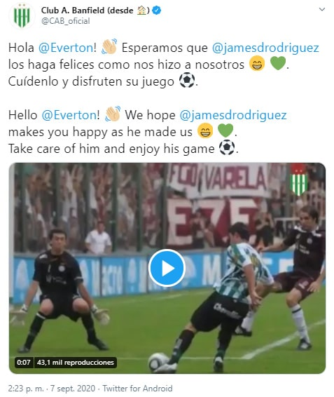 Club Atlético Banfield, James Rodríguez, Everton FC