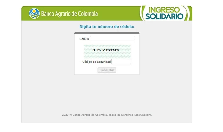 Consulta con cédula y pago del Ingreso Solidario en el Banco Agrario