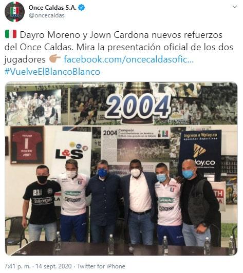 Dayro Moreno, Jown Cardona, Once Caldas, Liga 2020-I, presentación