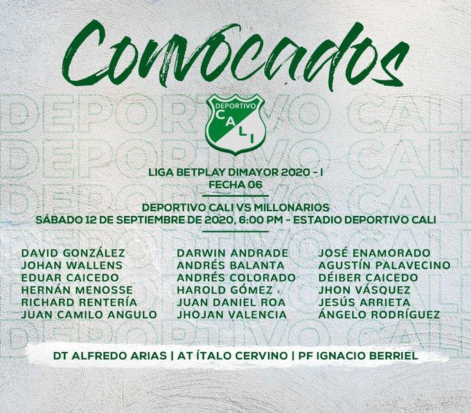 Deportivo Cali, convocatoria, Millonarios FC, Liga 2020-I