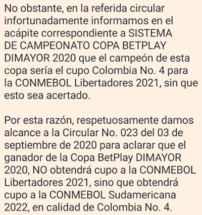 Dimayor, Conmebol, Copa Colombia 2020, Copa Libertadores 2021, Copa Sudamericana 2022 (2)