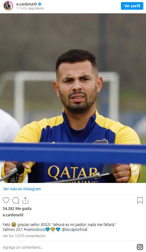 Edwin Cardona, Boca Juniors, entrenamiento