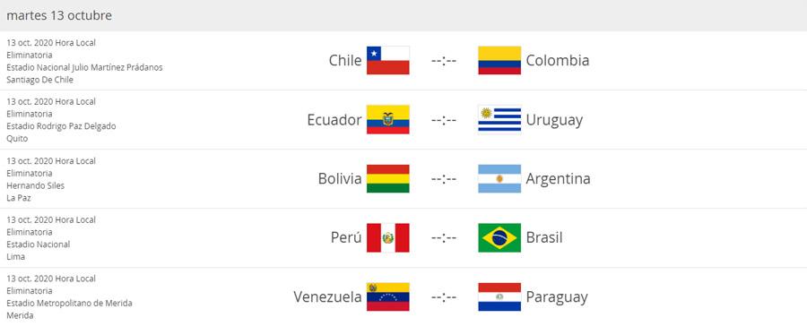Eliminatorias Sudamericanas al Mundial de Fútbol Qatar 2022, fecha 2, Selección Colombia, Selección de Chile