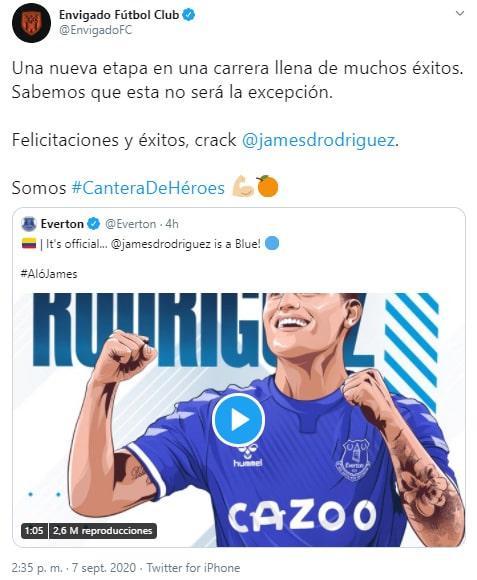 Envigado FC, James Rodríguez, Everton FC