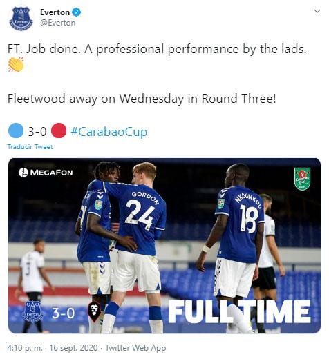 Everton FC, Fleetwood Town FC, Copa de la Liga de Inglaterra 2020-21, James Rodríguez