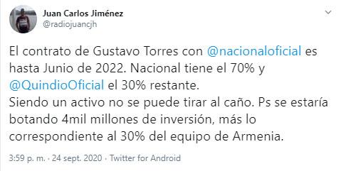 Gustavo Torres, Atlético Nacional, Liga 2020-I, Juan Carlos Jiménez (2)