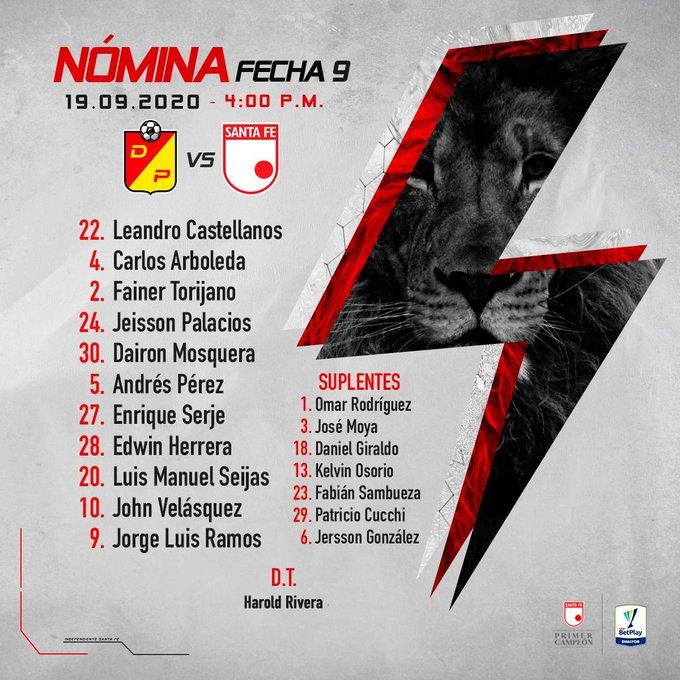 Independiente Santa Fe, formación, Deportivo Pereira, Liga 2020-I