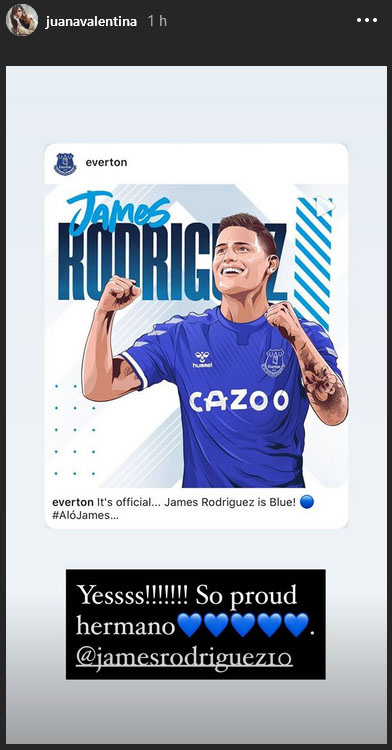 James Rodríguez, Everton FC, Juana Valentina Restrepo