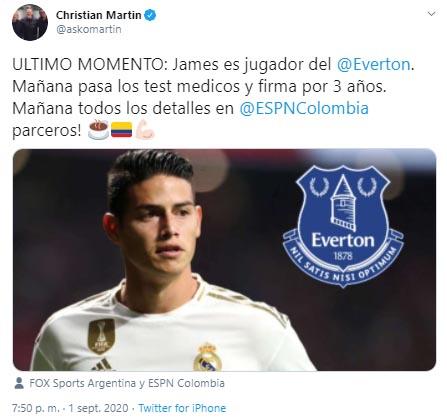 James Rodríguez, Everton FC, Real Madrid, Christian Martin