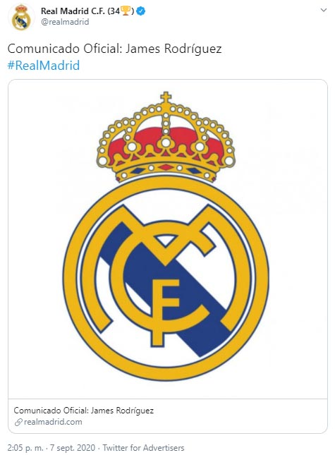 James Rodríguez, Everton FC, Real Madrid, comunicado oficial