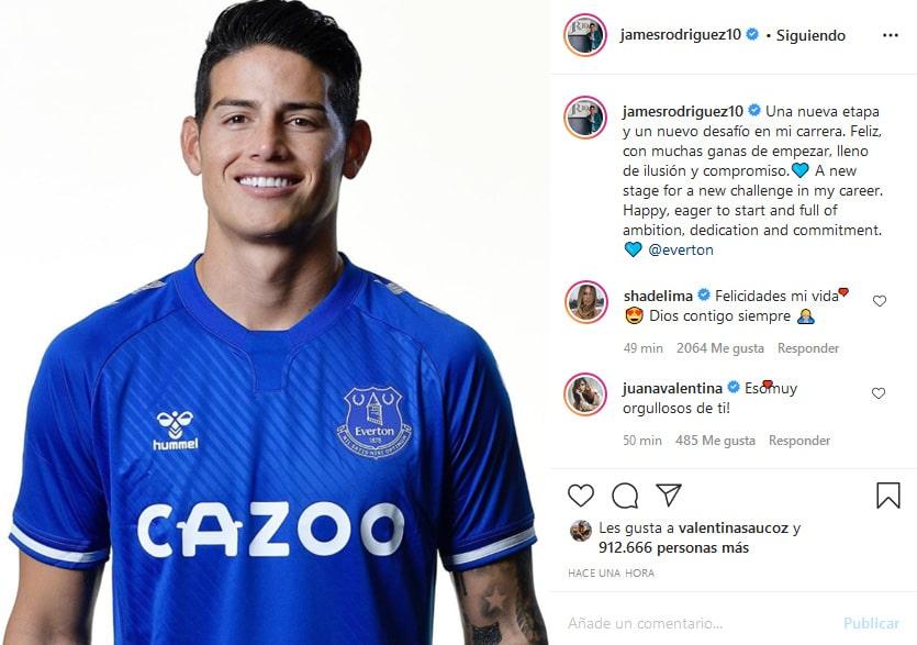 James Rodríguez, Everton FC, Shannon de Lima, Juana Valentina Restrepo