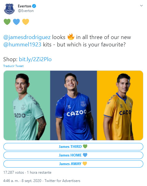 James Rodríguez, Everton FC, camisetas