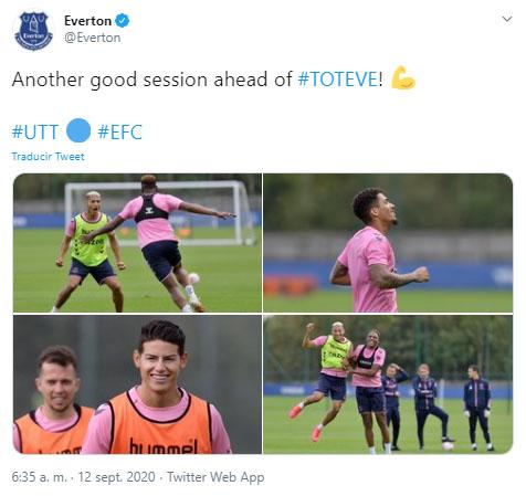 James Rodríguez, Everton FC, entrenamiento, Premier League 2020-21