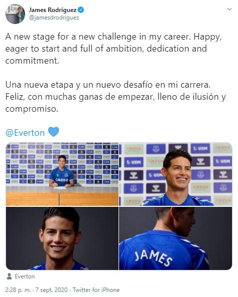 James Rodríguez, declaración, Everton FC