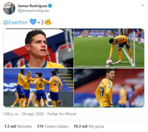 James Rodríguez, Everton FC 1-2 Crystal Palace, Premier League 2020-21, celebración